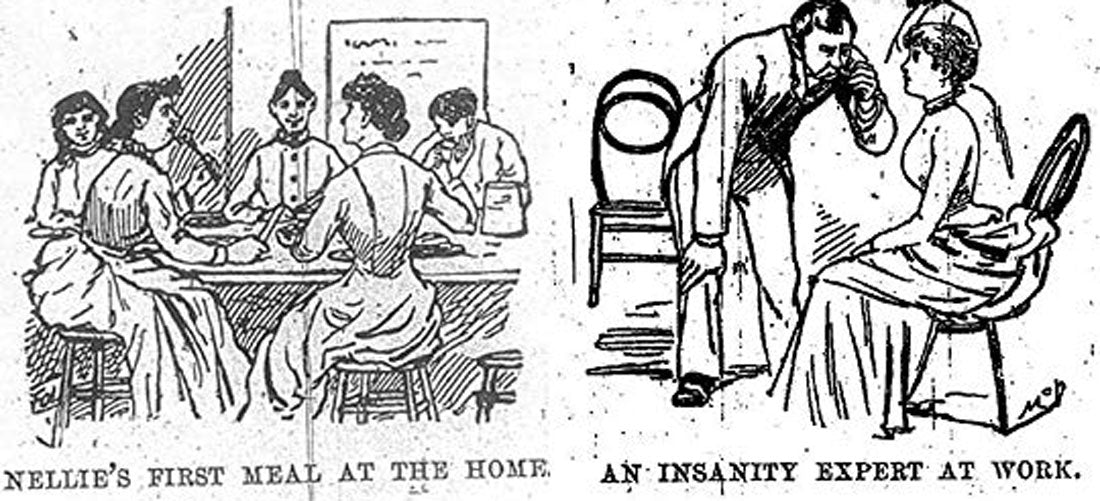 A drawing that depicts Nellie Bly's time spent undercover in an insane asylum