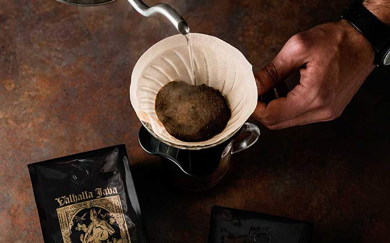 An image of Valhalla Java coffee being poured into a Chemex.