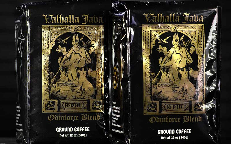 An image of two coffee bags of Valhalla Java Odinforce Blend.