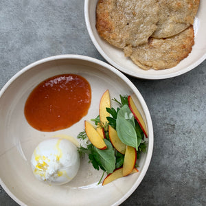 Burrata, sourdough tacos, peach & apricot