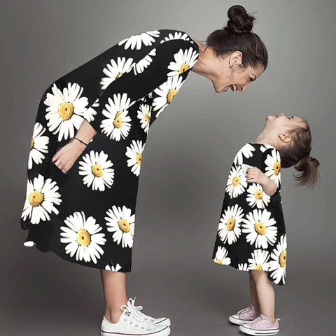 2019 Explosion Mother And Daughter Dress Autumn long-sleeved Dress Beach parent-child Dress children's White Chrysanthemum -  amazon-usa 2020
