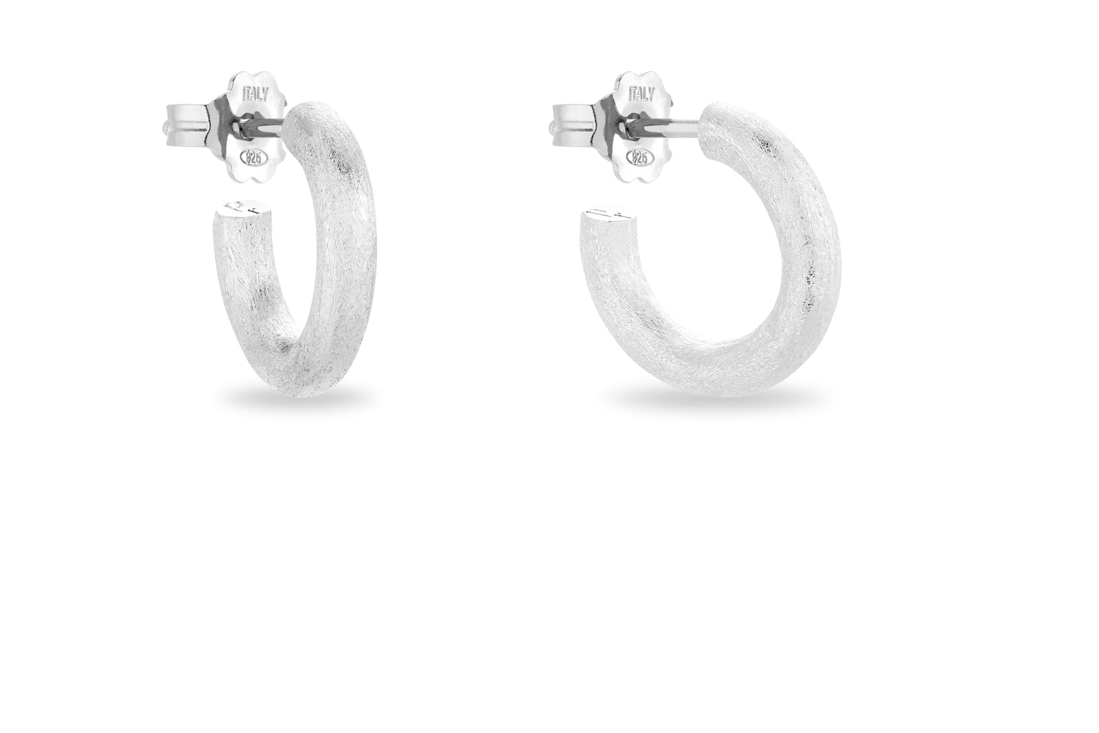 SILVER SATINE HOOP EARRINGS • S
