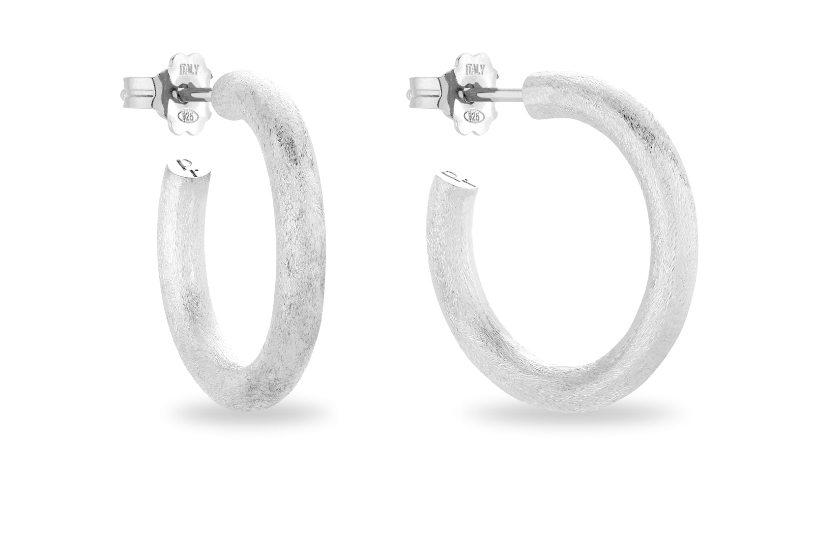 SILVER SATINE HOOP EARRINGS • M