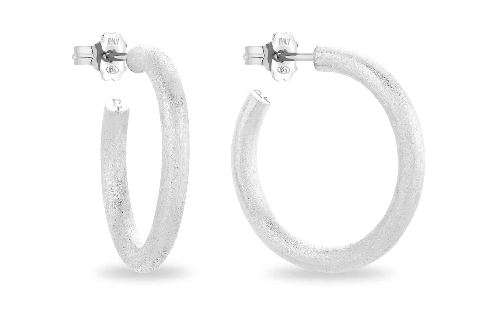 SILVER SATIN HOOP EARRINGS • L
