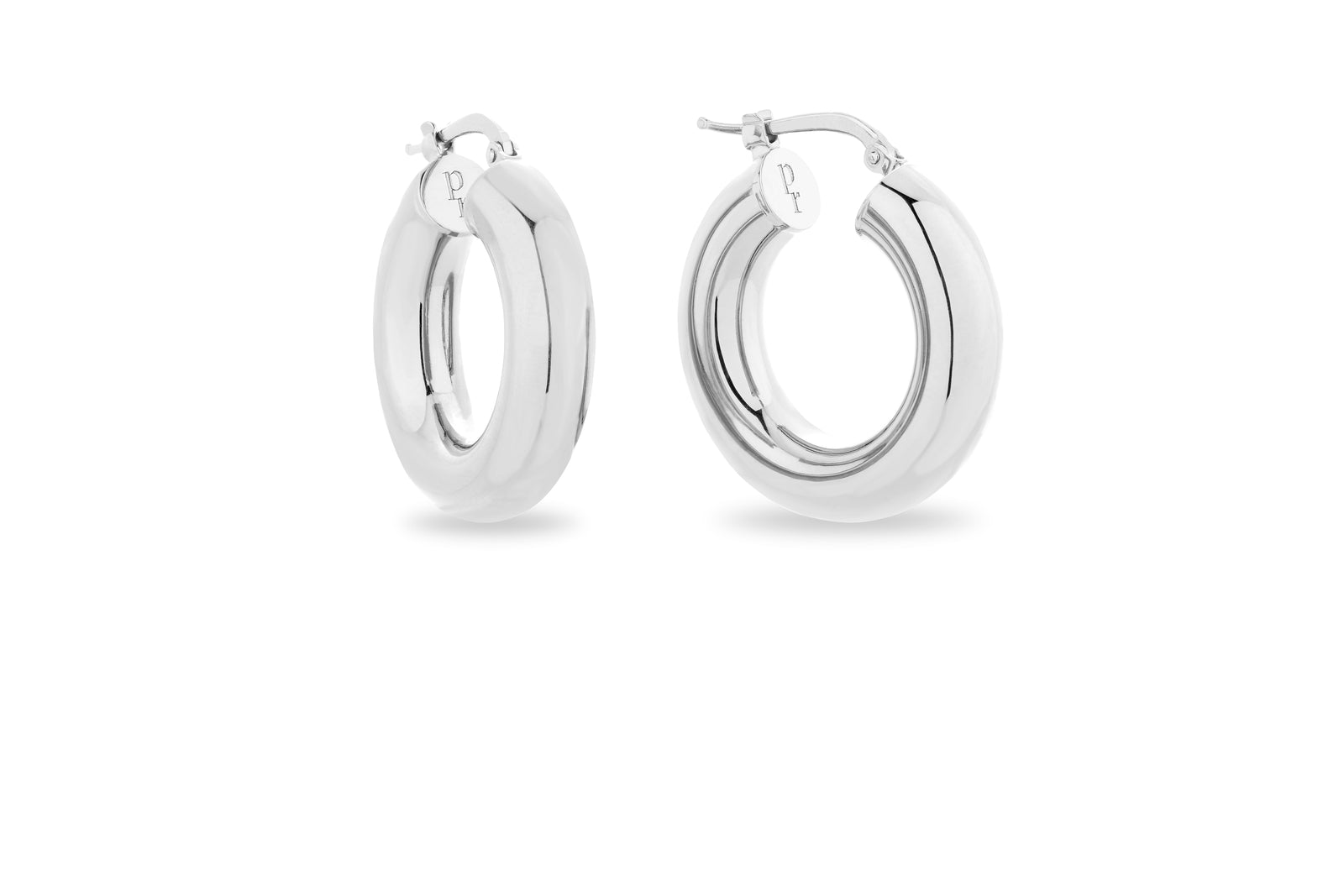 SILVER CHUNKY HOOP EARRINGS • XS