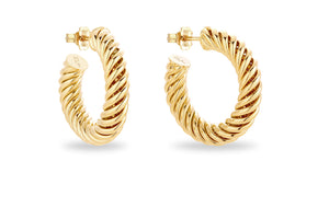 GOLD TWISTED HUGE HOOPS