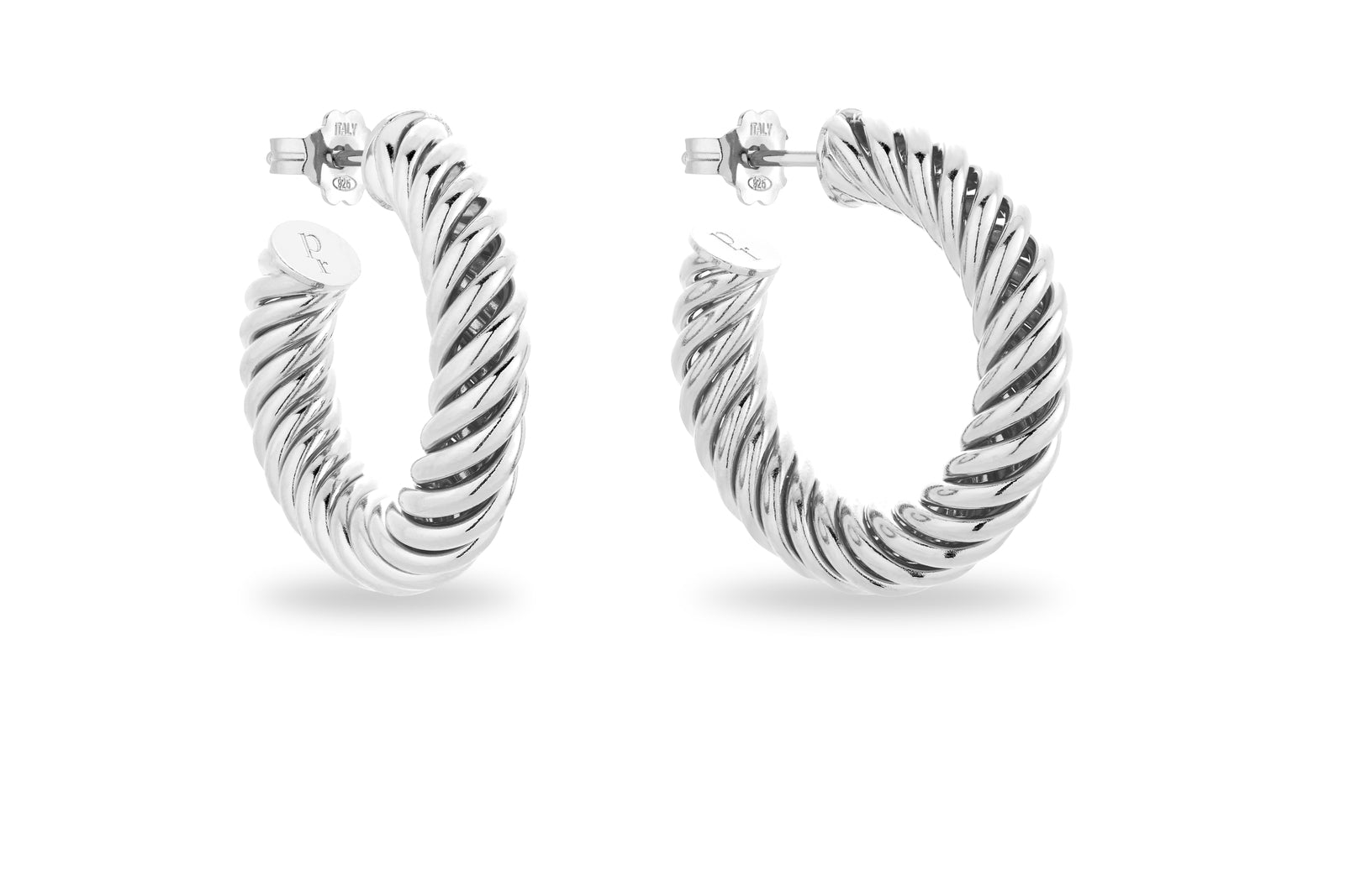 SILVER TWISTED HUGE  HOOPS