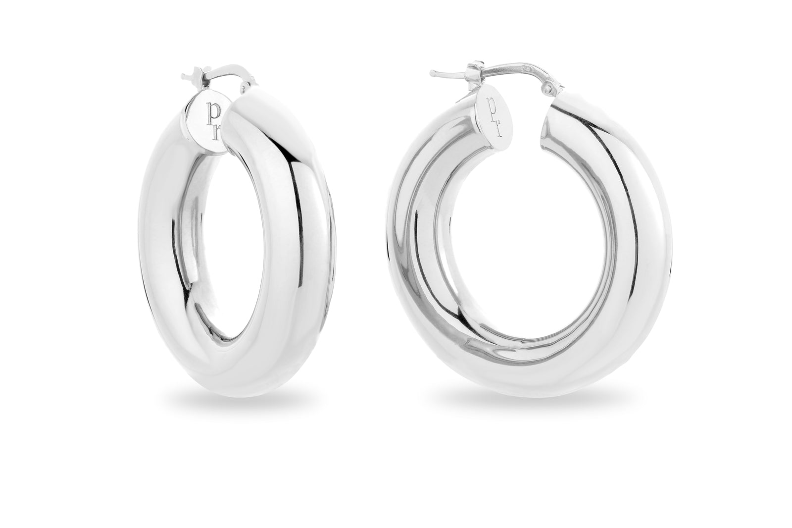 SILVER CHUNKY HOOP EARRINGS • M