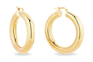 GOLD CHUNKY HOOP EARRINGS • L