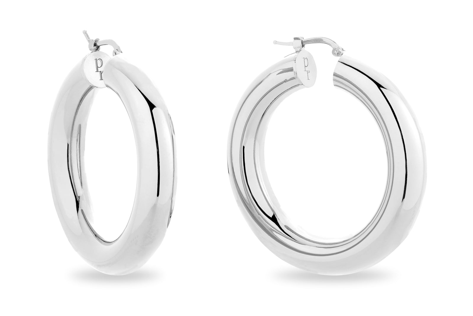 SILVER CHUNKY HOOP EARRINGS • L