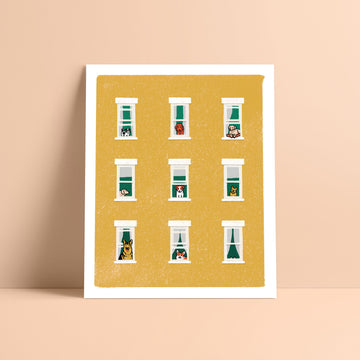 Dogs In Windows Print