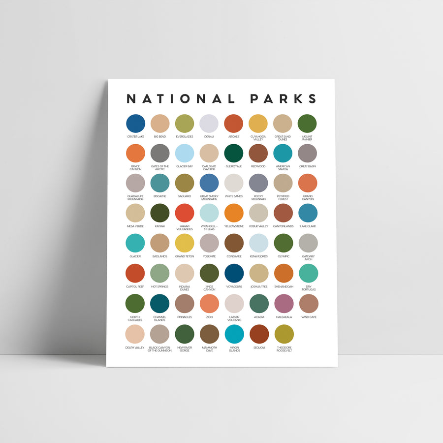 National Parks Color Palette Print