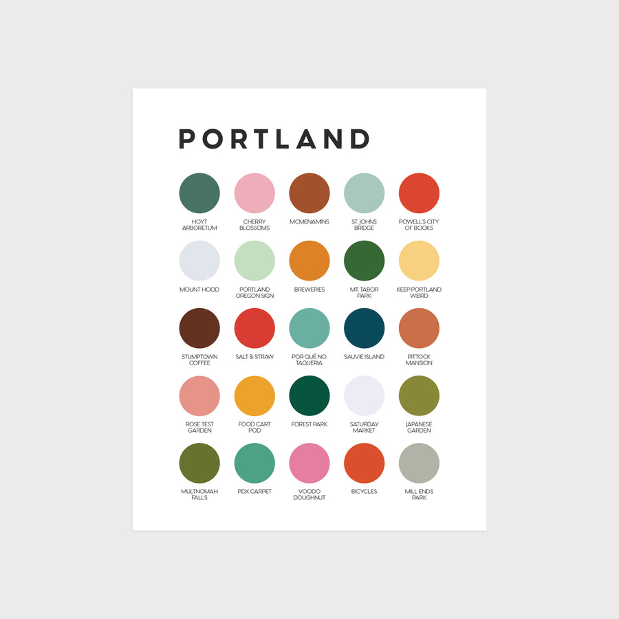 Portland, Oregon Color Palette Print