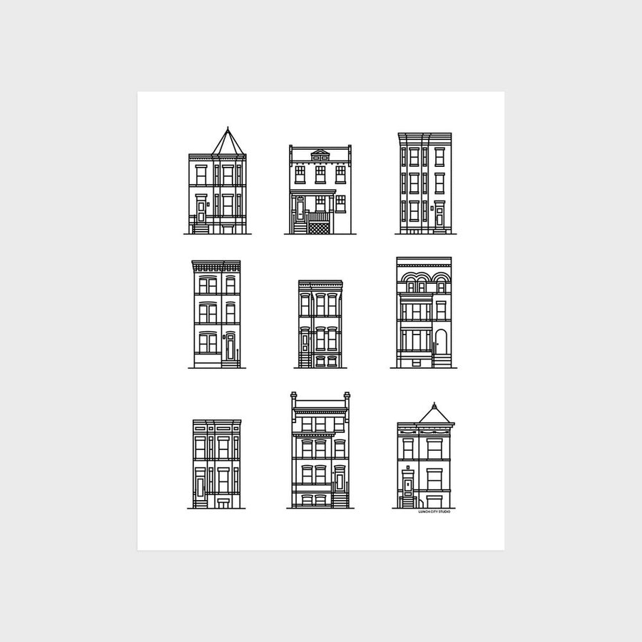 Washington DC Row House Icons Print