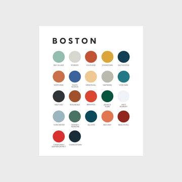 Boston Neighborhoods Color Palette Print
