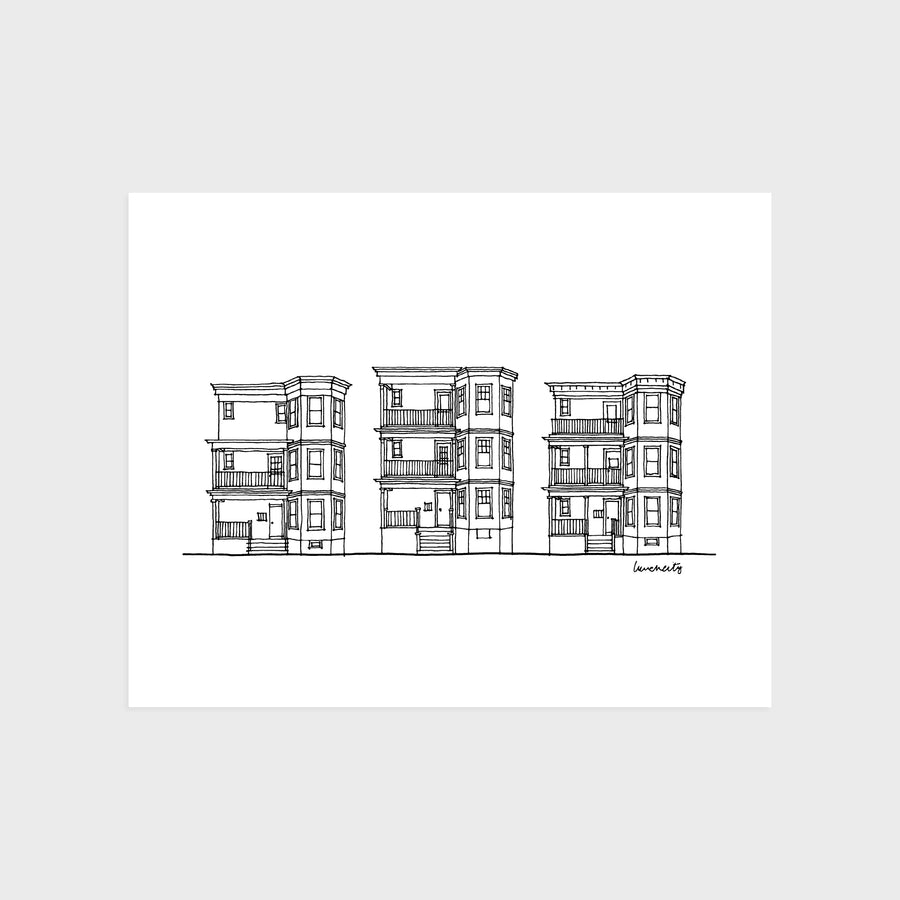 Boston Row House Print III