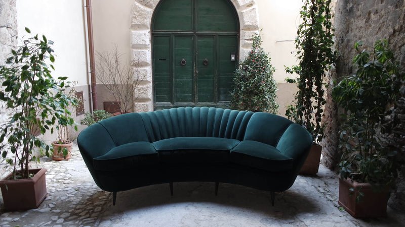 1940s Emerald Velvet 'La Traviata' Sofa
