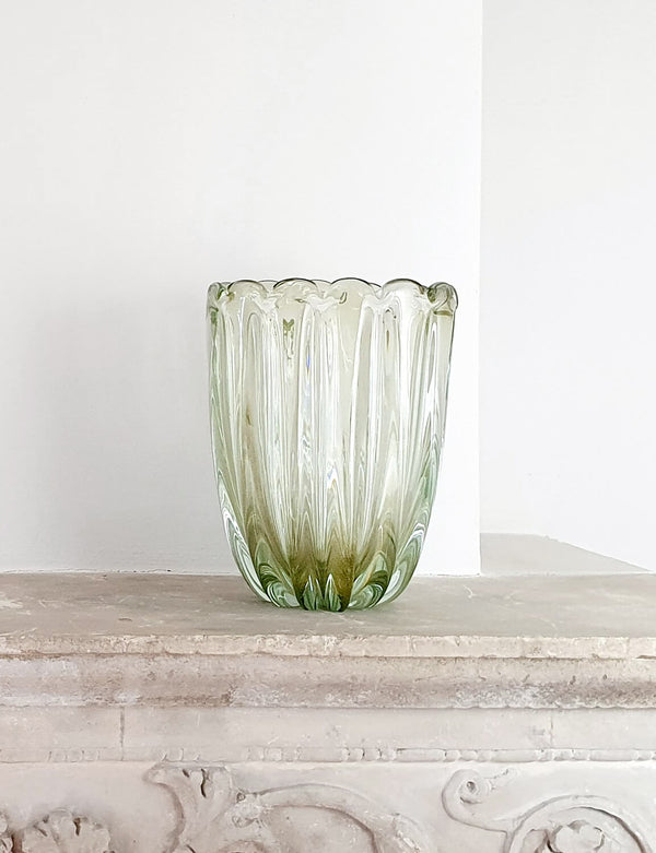 1940s Signed Toso Murano Glass Vase