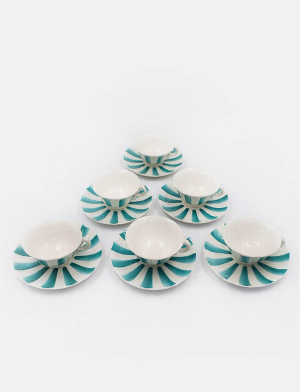 Six 1930s Guido Andlowitz Green and White Tea cups