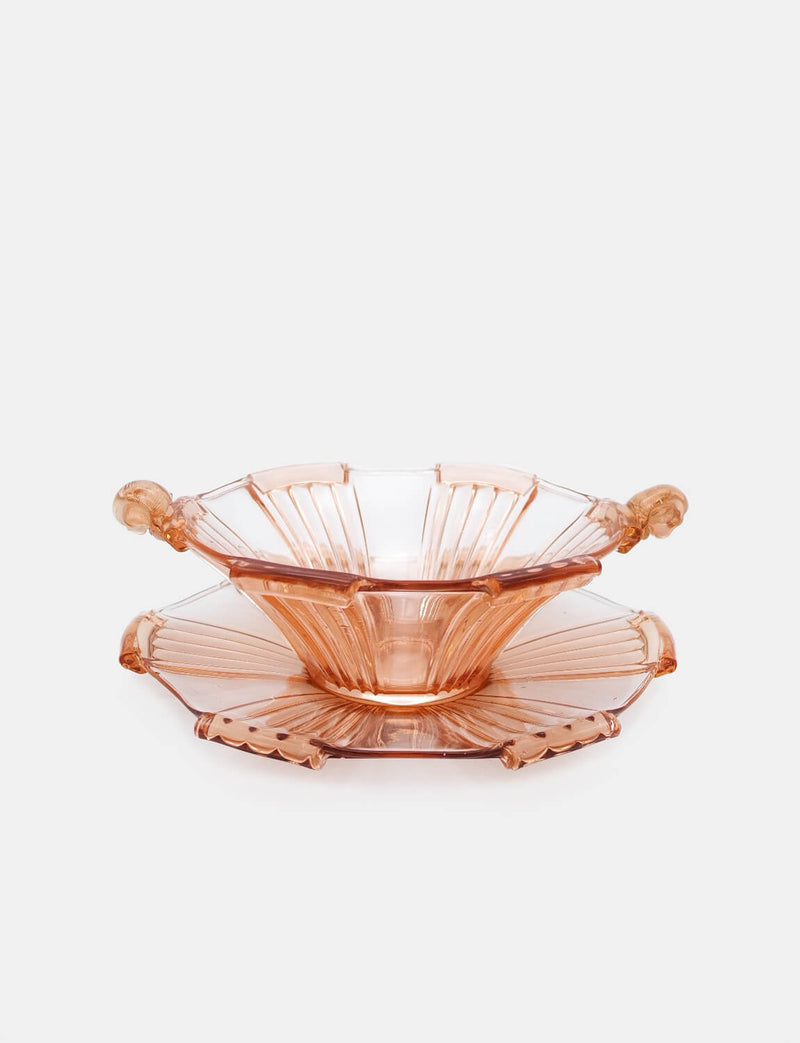 1930s Large Serving Bowl and Platter in Hand-blown Peach Glass