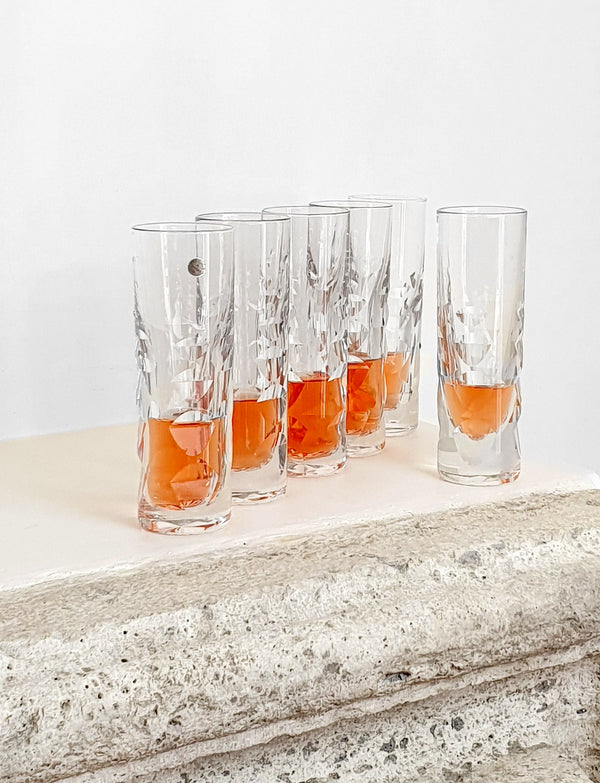 Set of Six 1960s Italian Carved Lead Crystal Glasses