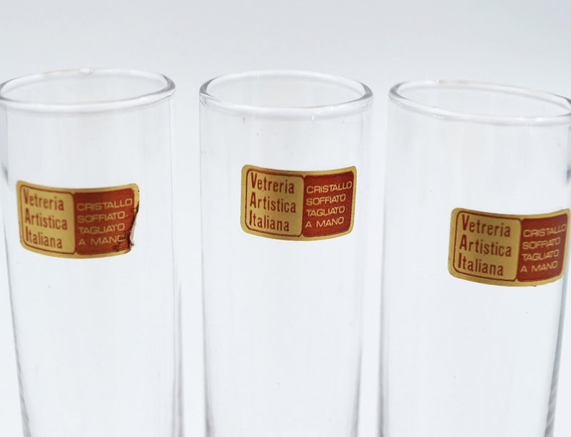 Set of 6 1970s Italian Crystal Aperitivi Glasses in Silver Stand