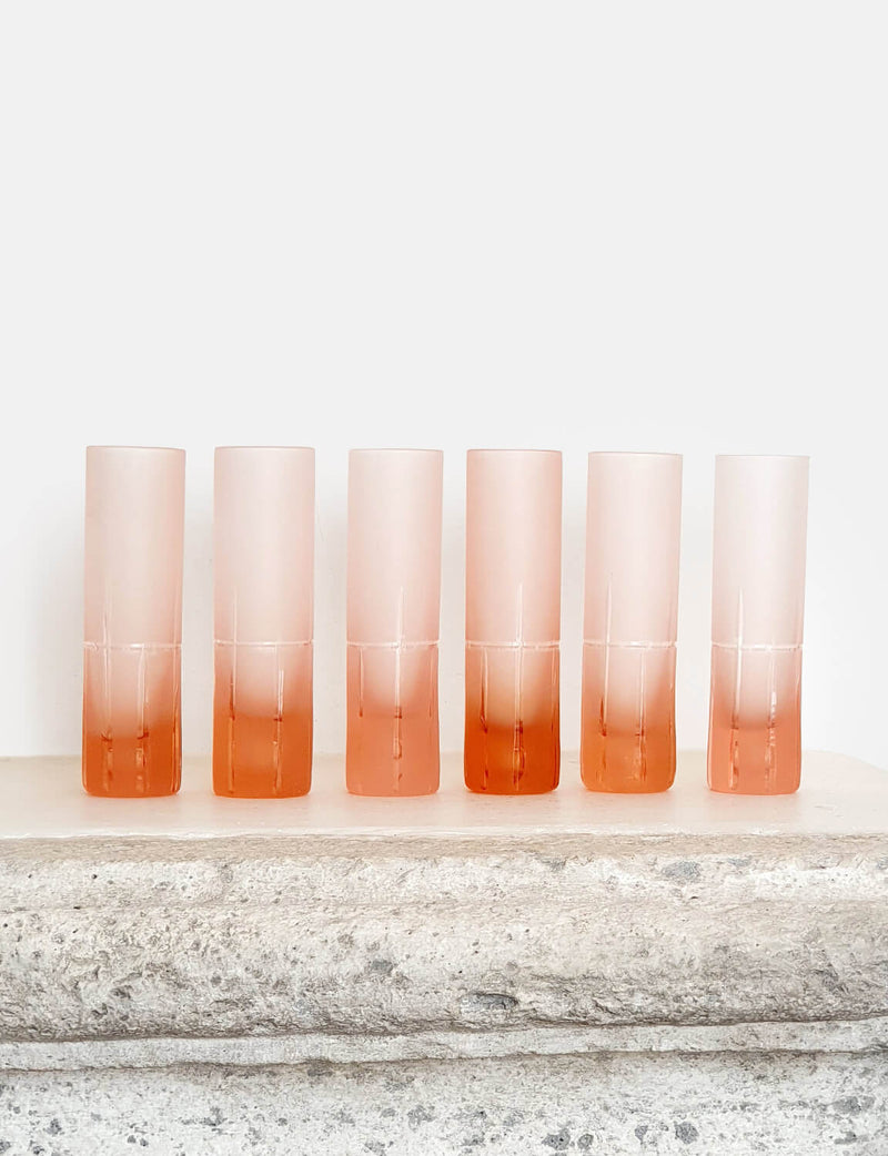 Set of 6 1970s Frosted Peach Aperitivi Glasses