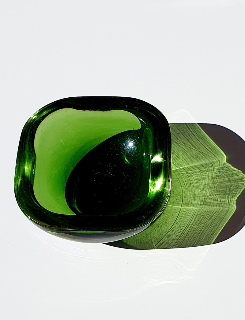 Small 1960s Green Murano Bowl