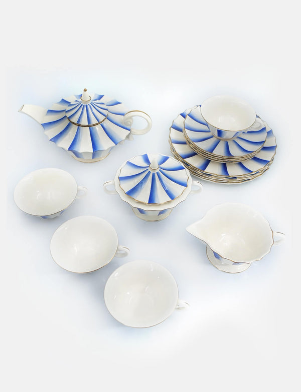 1930s Guido Andlovitz Blue and White Tea Service