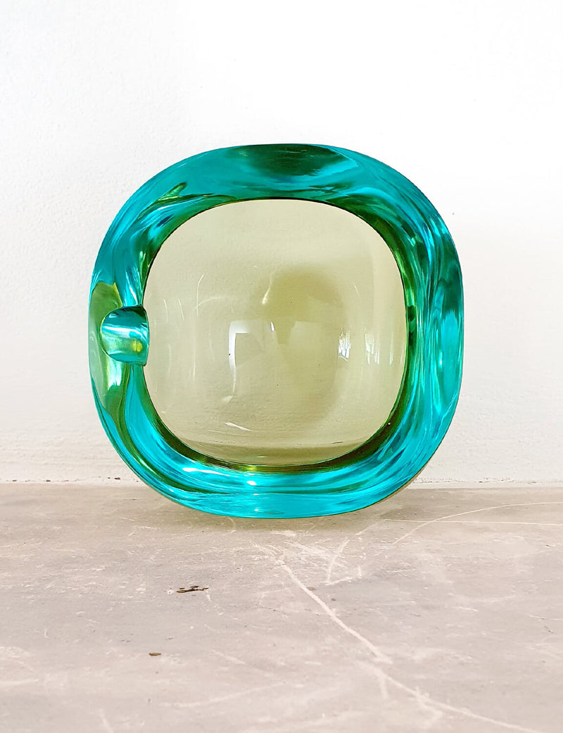 Large 1960s Green & Turquoise Murano Glass Bowl