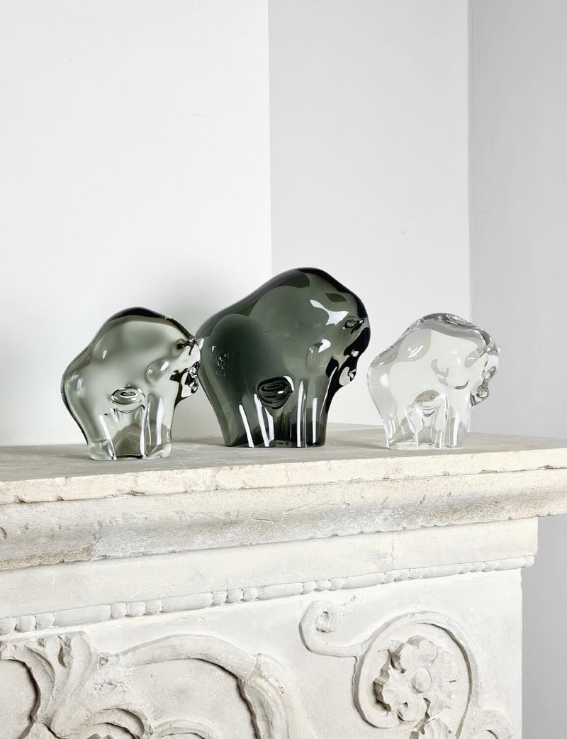 Hand-Blown Murano Glass Bison Family