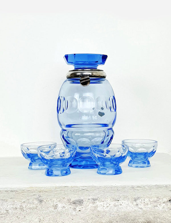 Vintage Italian Blue Decanter with 4 Mini Glasses