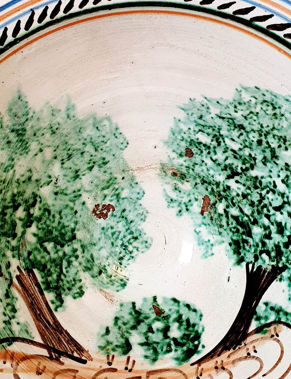 Conche Shaped Hand-Painted Olive Tree Bowl Mid 1800s