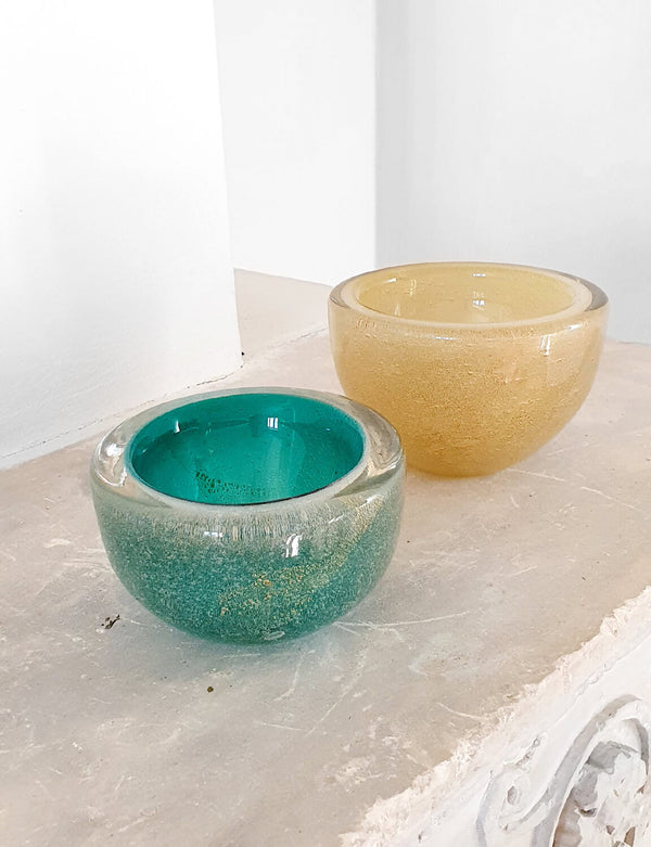 Pair of 1940s Green and Gold Decorative Murano Bowls