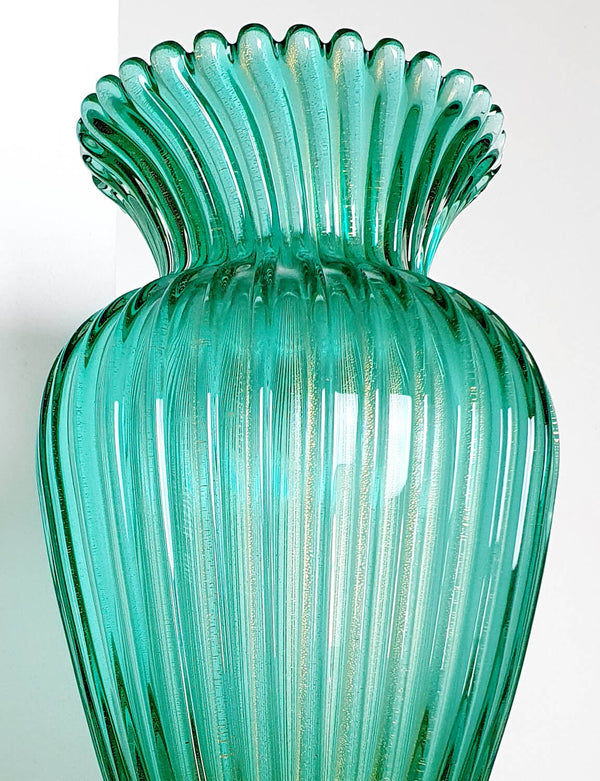 1950s Dark Green and Gold Venini Murano Vase