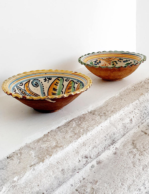 Pair of Conche Shaped Hand-painted Terracotta Bowls mid 1850s