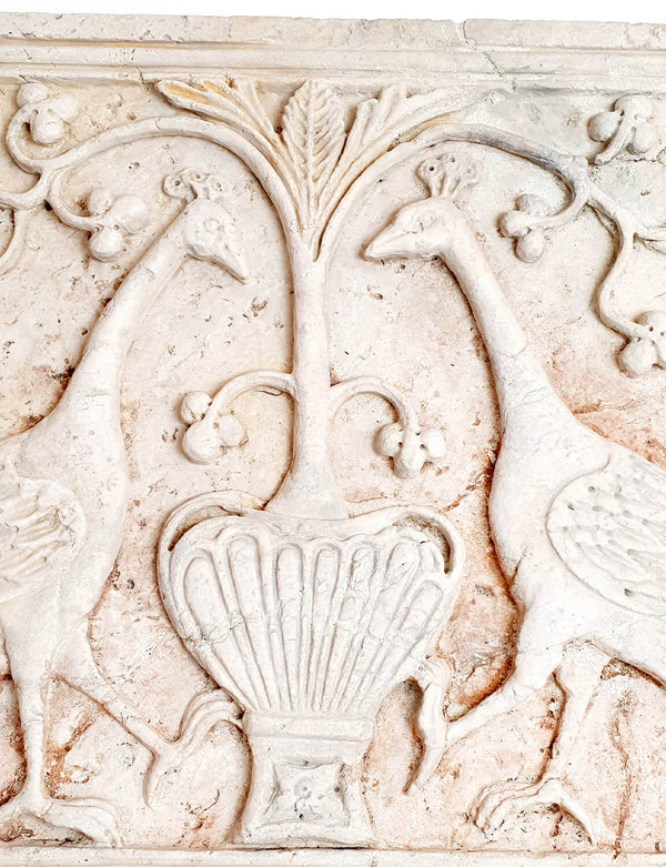 1800s Venetian Marble Frieze with Peacocks