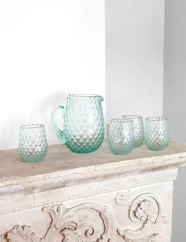 1940s Hand-Blown Quilted Jug and Glasses Set
