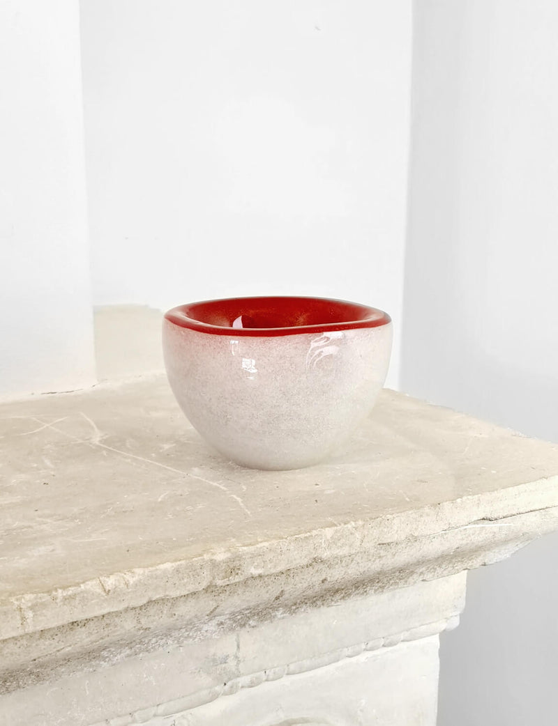 Hand-blown Murano Glass Red, White and Gold Bowl