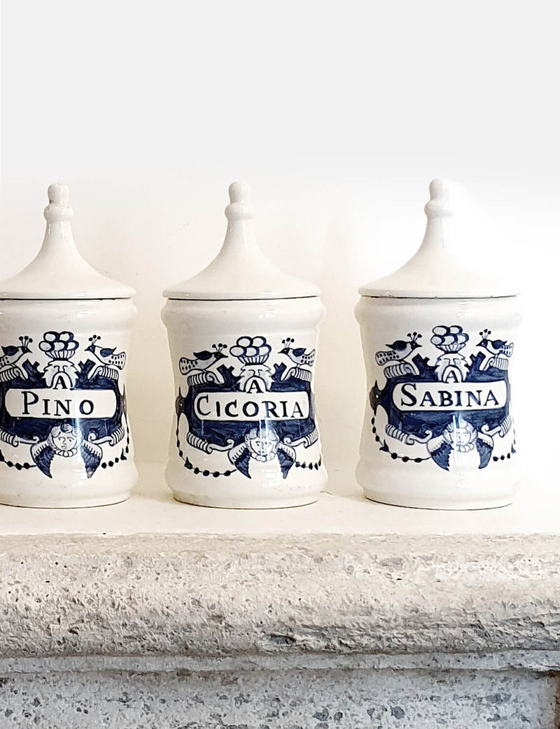 Set of Five 1950s Venetian Apothecary Jars