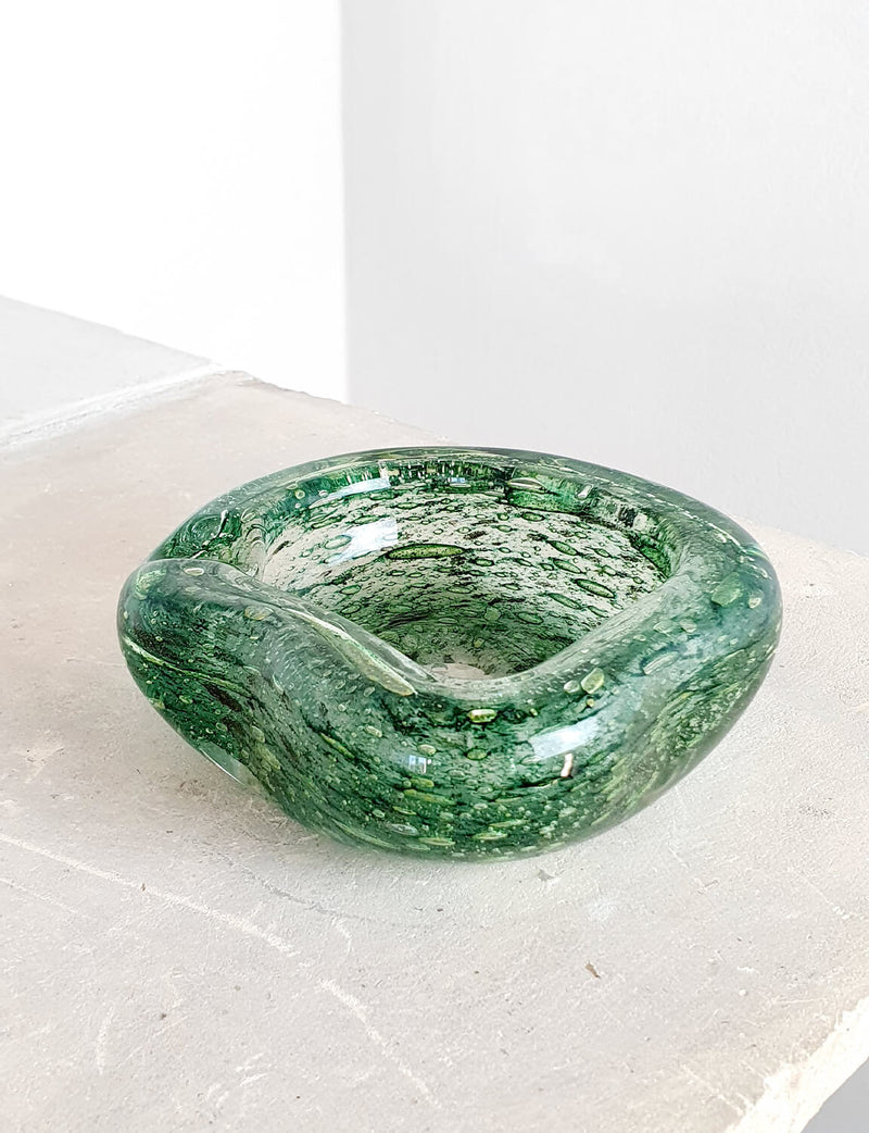 1960s Barovier & Toso Green Bubble Glass Bowl