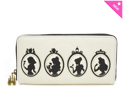 Loungefly - Black and White Princess Silhouette Quilted Wallet