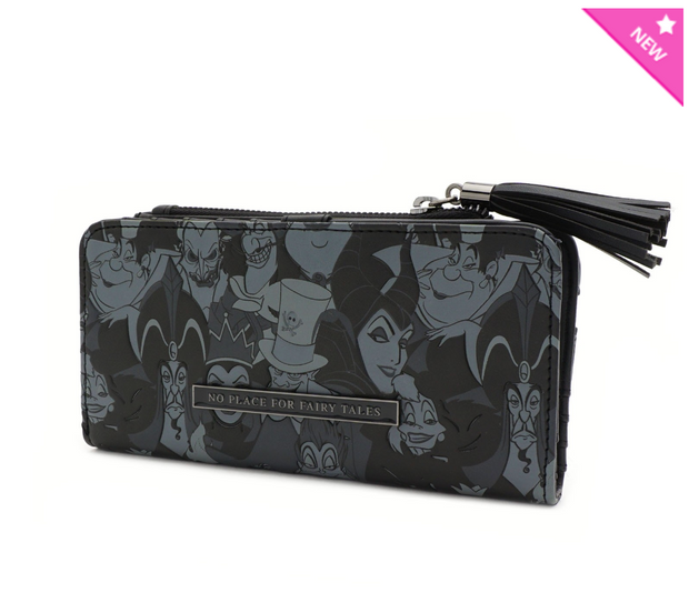 Loungefly - Black Debossed Villains Small Wallet