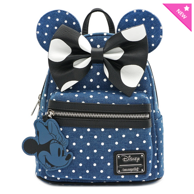 Loungefly - Denim Minnie Mouse Polka Dot Mini-Backpack