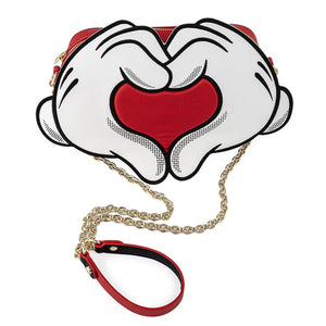 Disney Mickey & Minnie Mouse Love Heart Hands Crossbody Bag