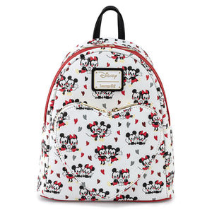 Loungefly Disney Mickey & Minnie Mouse Love Heart AOP Mini Backpack