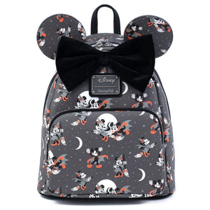 Loungefly - Mickey Vampire and Minnie Witch AOP Mini Backpack