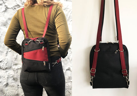 Combined strap to use it as backpack or shoulder bag