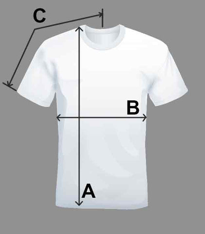 Embroidered T-shirt size chart