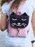 Pink Black Cat Backpack, Personalized Cross Body Bag | Aris Bags - Aris Bags